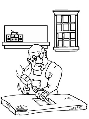Worker Coloring Pages Cards
